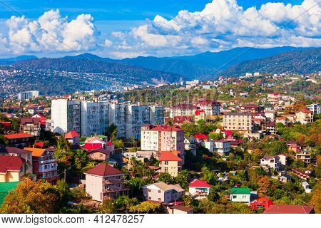 Sochi City Centre Aerial Panoramic View. Sochi Is The Resort City Along The Black Sea In Russia.