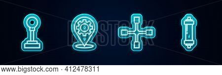 Set Line Gear Shifter, Car Service, Wheel Wrench And Shock Absorber. Glowing Neon Icon. Vector