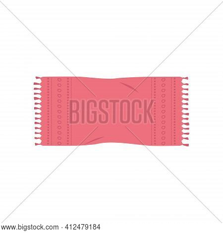 Illustration Of Fashionable Pink Shawl, Rug, Mat Or Beach Towel With Pattern. Vector Illustration