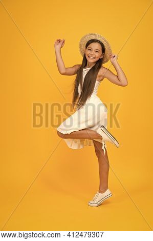 Lets Have Fun. Small Girl On Vacation. Rancho Child In Straw Hat. Little Cutie On Yellow Background.