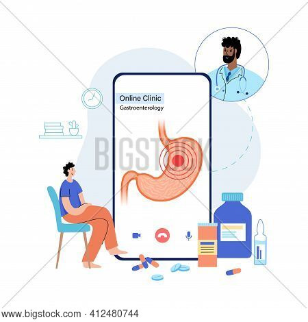 Cancer, Ulcer Or Pain In Stomach. Online Clinic Application For Phone. Consultation With Doctor Via