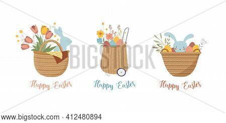 Happy Easter, Vintage Style Easter Rattan Baskets With Eggs, Flowers And Bunnies. Retro Boho Easter