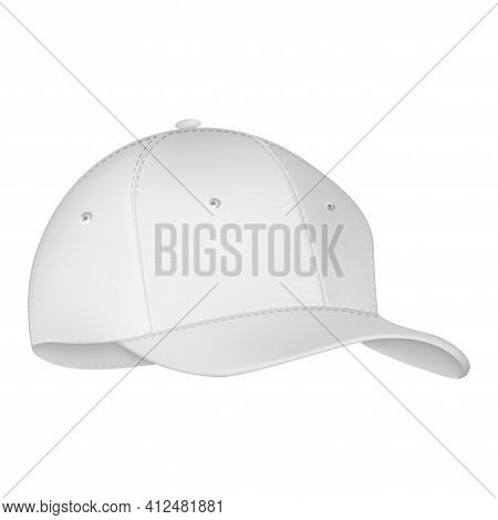 Uniform Cap Or Hat. Mockup And Blank Template Of Baseball Uniform Cap With Front Side View. Isolated