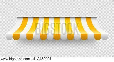 Yellow Shop Sunshade On Transparent Background. Realistic Striped Cafe Awning. Outdoor Market Tent.