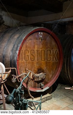 Old Wine Casks On Wine Domain In Cotes De Provence Near Collobrieres , Region Provence, South Of Fra