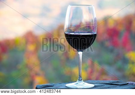Glass Of Portuguese Red Dry Wine, Produced In Douro Valley And Old Terraced Vineyards On Background