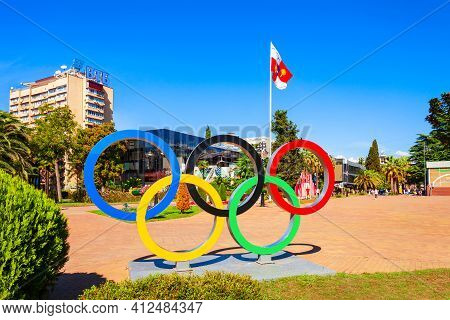 Sochi, Russia - October 04, 2020: Olympic Rings Logo And Symbol Monument At The Flag Square In The C