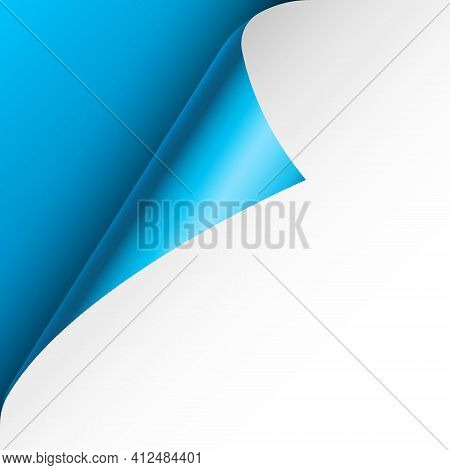 Blue Paper Curl. Curled Page Corner With Shadow. Blank Sheet Of Paper. Colorful Shiny Foil. Design E