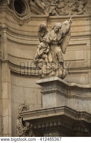 Murcia, Spain, 19 April 2017. Detail Of The Decorations On The Facade Of The Cathedral Church Of Sai