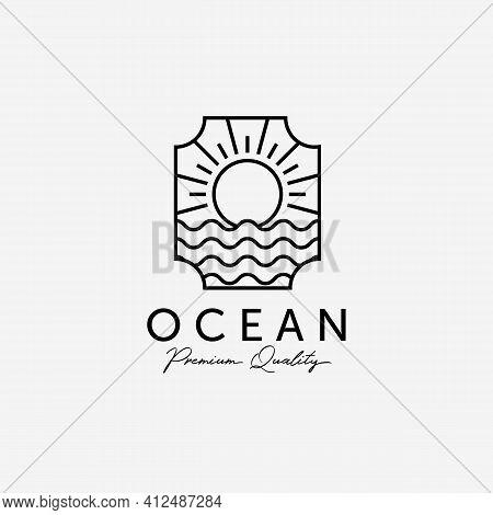 Badge Of Sunburst On The Horizon Line Art Logo, Illustration Of Marine Water, Design Of Beach Sunset