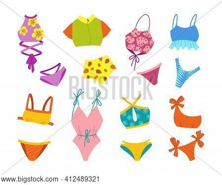 Lingerie Swimsuit Cartoon Set Bikini Flat Vector