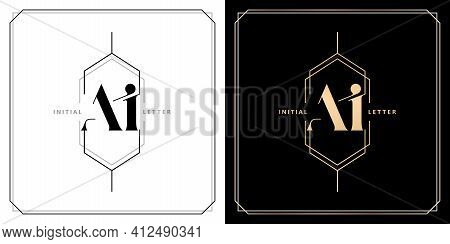 Ai Or Ia Initial Letter And Graphic Name, Ia Or Ai Monogram With Polygonal Frames And Border, For We
