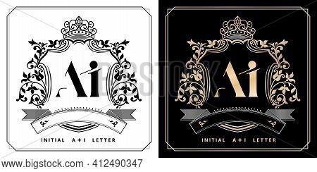 Ai Or Ia Royal Emblem With Crown, Initial Letter And Graphic Name Frames Border Of Floral Designs Wi