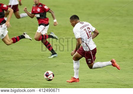 Rio, Brazil - March 14, 2021: Fernando Pacheco Player In Match Between Flamengo V Fluminense By Cari