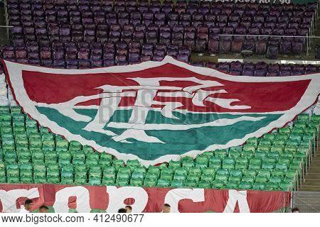Rio, Brazil - March 14, 2021: Tricolor Shield In Match Between Flamengo V Fluminense By Carioca Cham