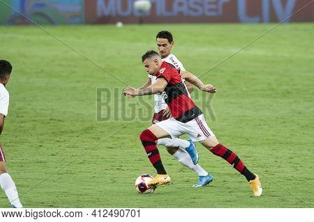 Rio, Brazil - March 14, 2021: Thiaguinho Player In Match Between Flamengo V Fluminense By Carioca Ch