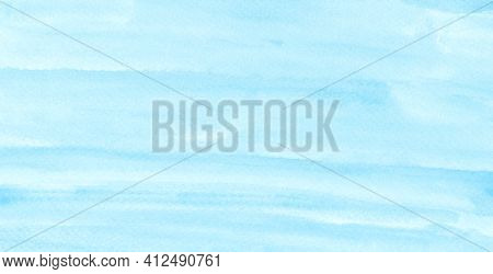 Blue Watercolour Background, Watercolour Painting Soft Textured On Wet White Paper Background, Abstr