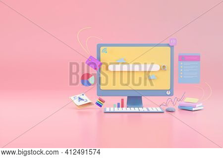 Search Bar Graphic Design  On Display Monitor With Pink Background, 3d Render