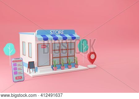 Store With Smartphone Shopping Online Social Media Application Concept, 3d Render
