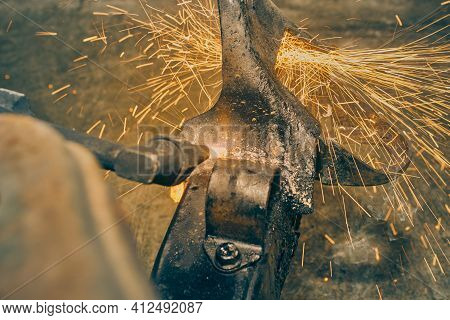 Side View Oxygen Acetylene Torch Cutting Car Part Or Auto Part On Chassis With Small Sparkle In Vint