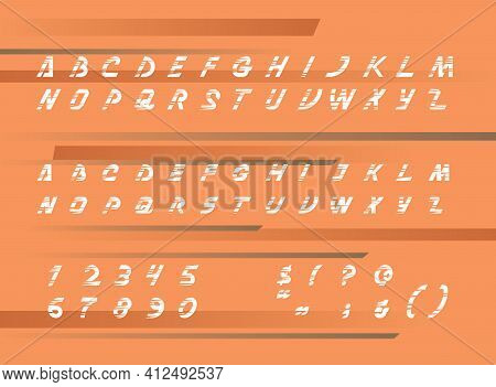 Set Of Sans Serif Alphabet With Numerals, Symbols And Block Letters On Flat Color Background. The Ty