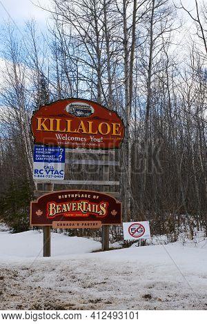 Killaloe, Ontario, Canada - March 12, 2021: A Welcome Sign For Killaloe, Ontario Advertises The Town