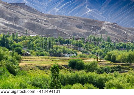 Green Valley At Mulbekh Beneath Himalayan Mountains, View Of Leh Ladakh Landscape, At Mulbekh, Light