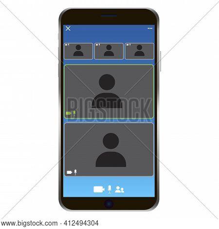 Conference Phone Screen. Phone Call Icon. Smartphone Mockup. Camera Icon. Web App Ui Display Templat