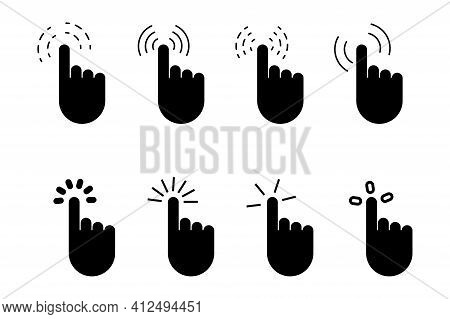 Hand Click Icon.  Click Button Isolated. Hand Pointer Icon.  Vector Mouse Pointer Symbol. Stock Imag