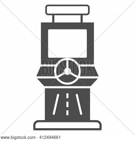 Race Slot Machine Solid Icon, The Rides Concept, Gaming Machine Sign On White Background, Racing Slo