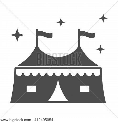 Tent With Attractions Solid Icon, The Rides Concept, Circus Tent Sign On White Background, Carnival