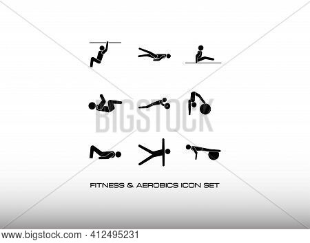 Set Of Aerobics And Gymnastics Icon In Black And Simple Style. Consist Of Teen About Exercise In The