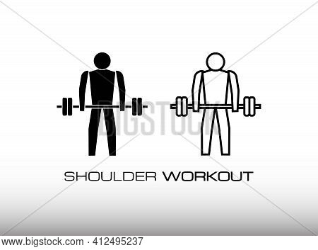 Set Of Workout For Shoulder And Deltoid Muscle And Bigger Image Icon Vector. Shrug Black Icon Vector