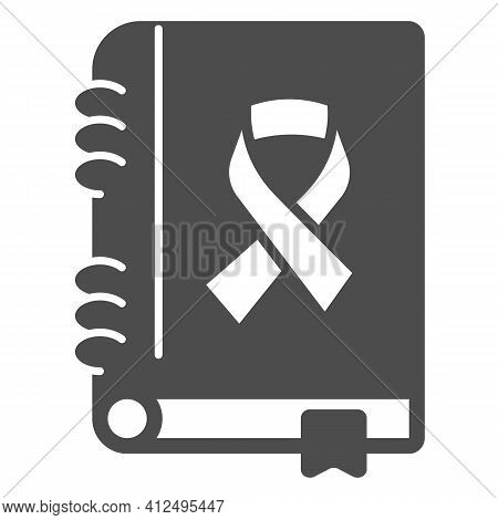 Cancer Treatment Book Solid Icon, World Cancer Day Concept, Disease Treatment Brochure Sign On White