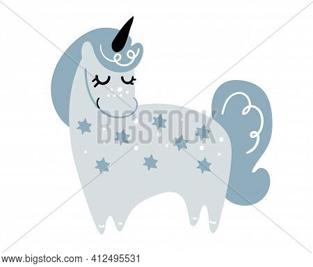 Standing Blue Unicorn In Vintage Blue Color, Magic Pony From Fantasy, Naive Vector Illustration Isol