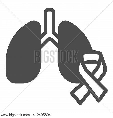 Lung Organ And Tape Solid Icon, World Cancer Day Concept, Human Lungs And Cancer Ribbon Sign On Whit