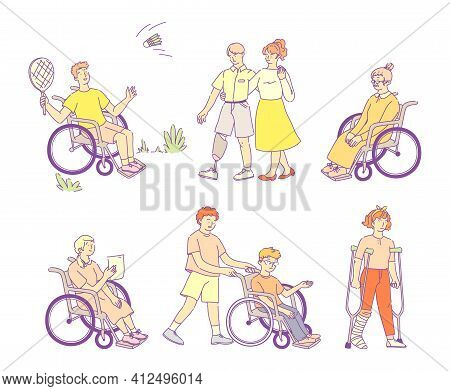 Disabled People With Disabilities And Wheelchairs. People On Artificial Legs, On Crutches, Blind Man