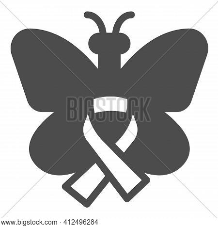 Butterfly And Ribbon Solid Icon, World Cancer Day Concept, Breast Cancer Support Poster Sign On Whit