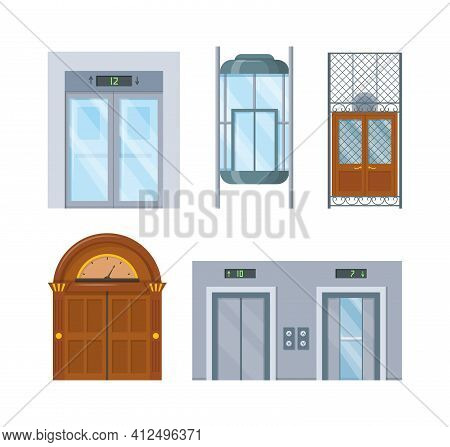 Modern And Vintage House Interior With Lift Mechanisms. Wooden Of Metal Lifts Elevator Cabin With Cl