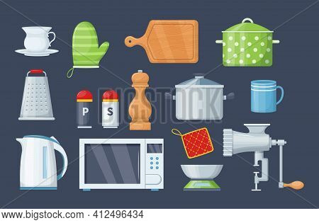 House Cookware Utensils For Cooking. Kitchenware Cooking Objects, Equipment For Cooking Kitchen Scal