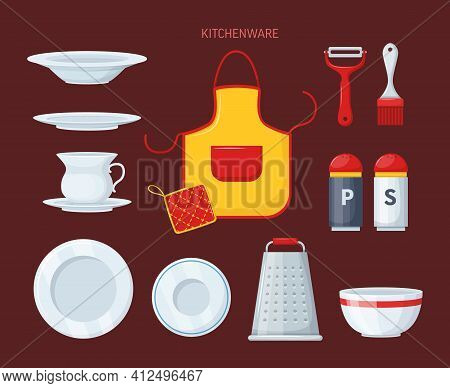 House Cookware Utensils For Cooking, Metallic And Ceramic Kitchen Crockery. Kitchenware Cooking Obje
