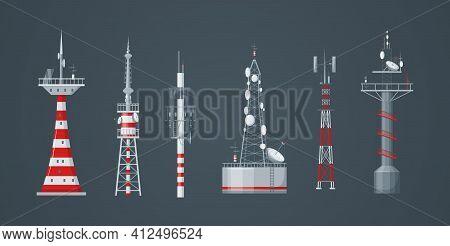 Communication Towers Set. Radio Wireless Masts And Telecommunication Towers, Radio Tv Antenna. Commu