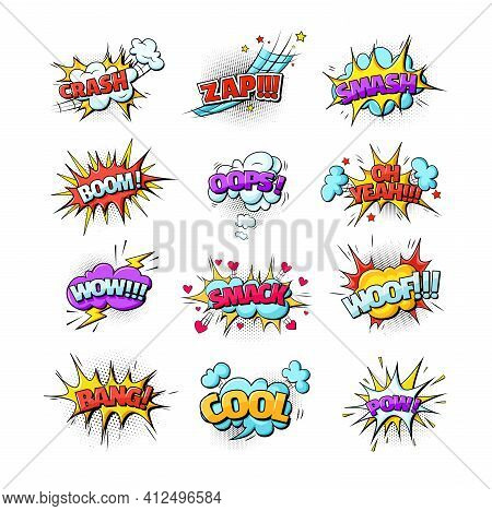 Comic Speech Bubble Sound Effects Pop Art Style. Speech Clouds With Quotes, Exclamations, Surprise,