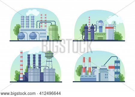 Industrial Factory Set. Industrial Buildings With Pipes, Power Station, Manufacturing, Thermal Nucle