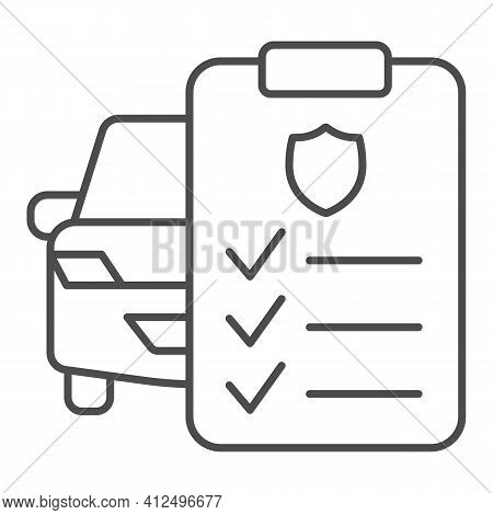 Car And Application Form Thin Line Icon, Car Parts Concept, Auto Insurance Form Sign On White Backgr
