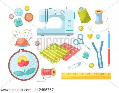 Needlework Tools Set. Handmade Kit: Sewing Machine, Scissors, Spools Of Thread, Buttons, Needles In