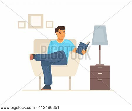 Stay Home On Quarantine. People Sitting At Their Home Room Or Apartment. Young Man Sitting In Cozy L