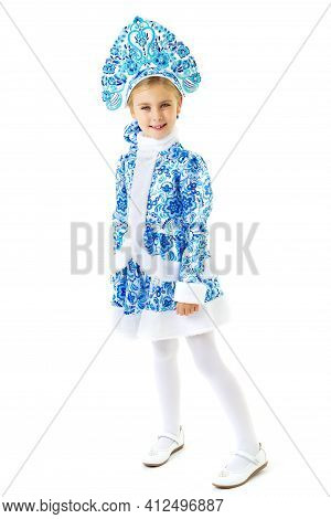 Lovely Girl In Snow Maiden Costume. Happy Girl Dressed In Traditional Russian Christmas Snegurochka