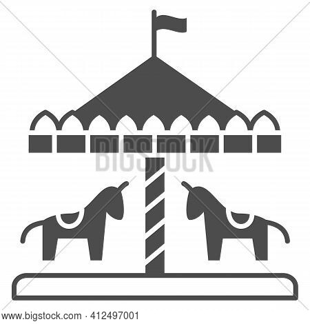 Children Carousel With Horses Solid Icon, The Rides Concept, Vintage Merry-go-round Carousel Sign On