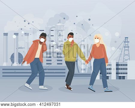 Group People Character Choking On Dust Wearing Protective Face Masks Gas Walking Along Dusty Pollute